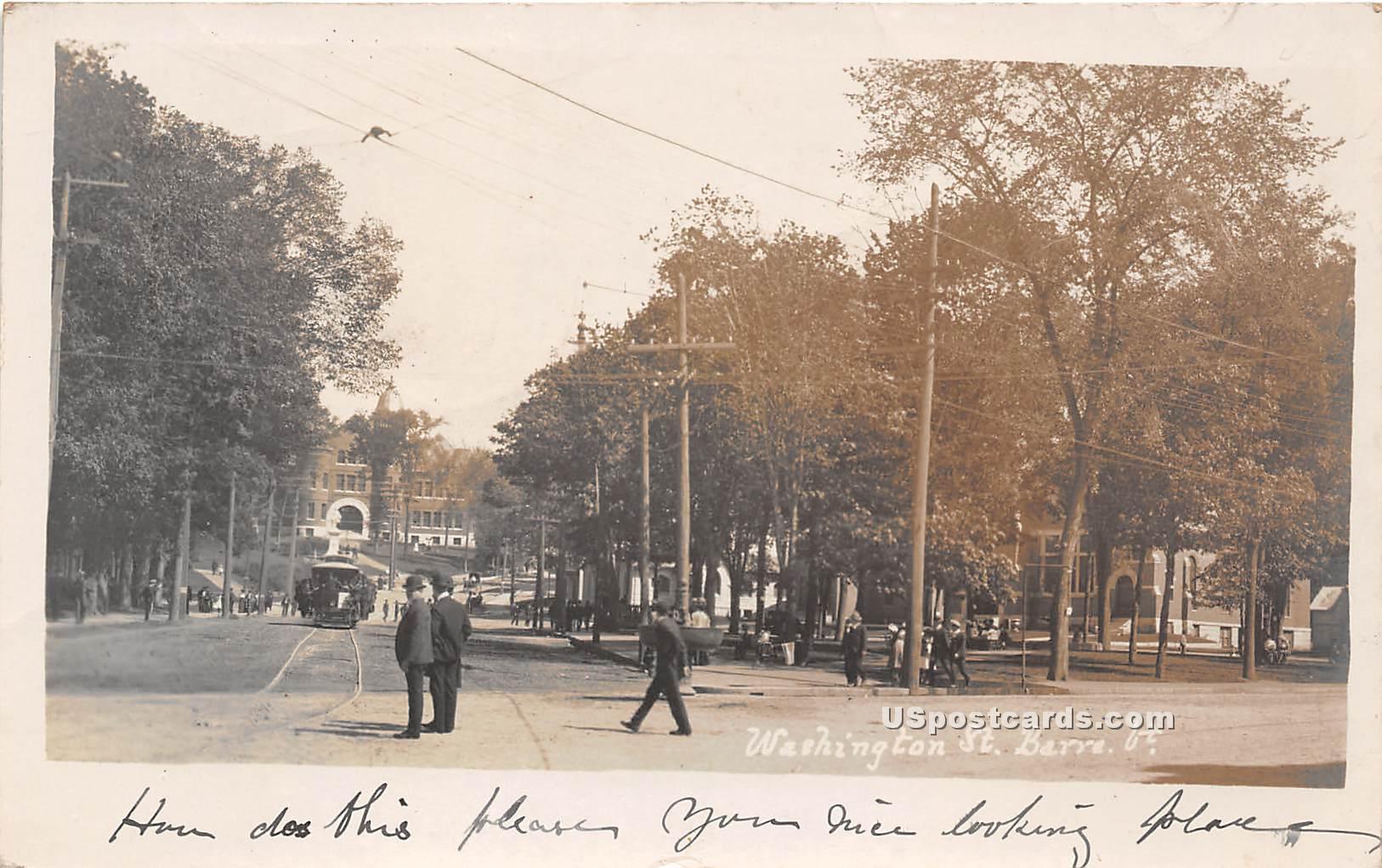 Washington Street - Barre, Vermont VT Postcard