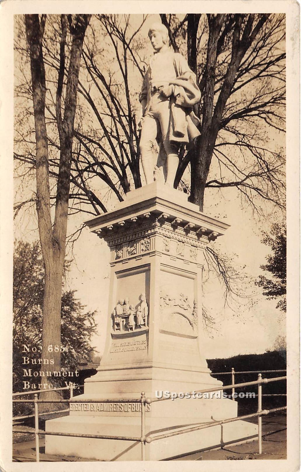 Burns Monument - Barre, Vermont VT Postcard