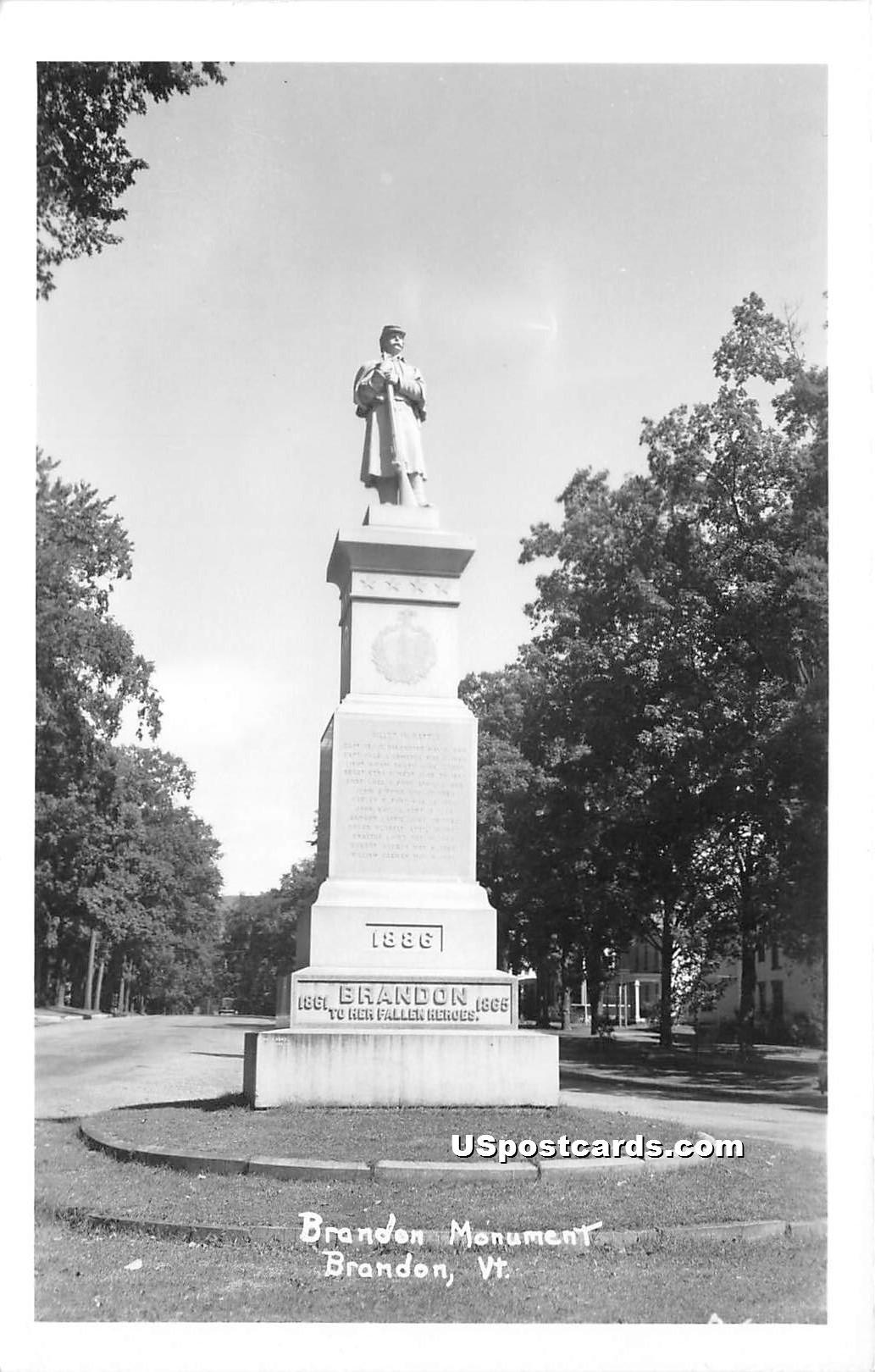 Brandon Monument - Vermont VT Postcard