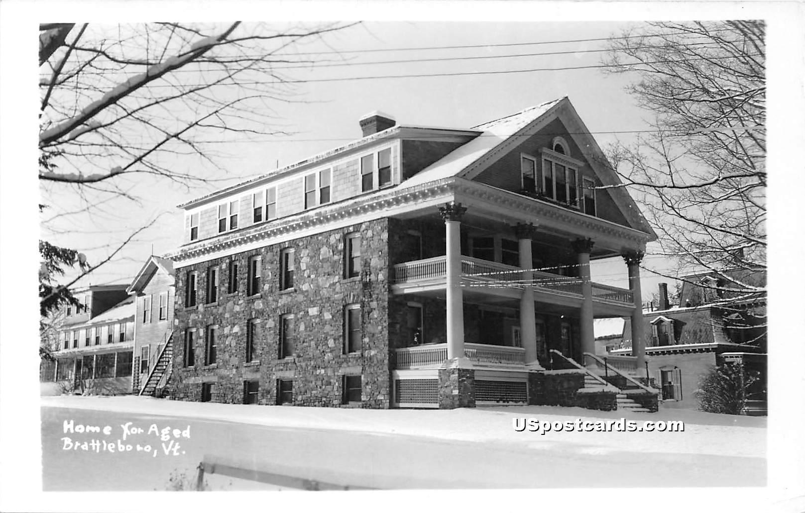 Home for Aged - Brattleboro, Vermont VT Postcard