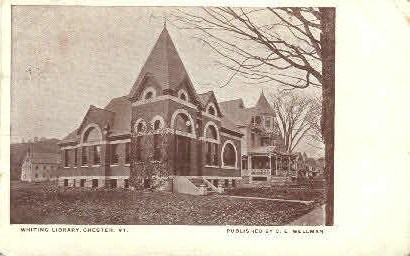 Whiting Library - Chester, Vermont VT Postcard