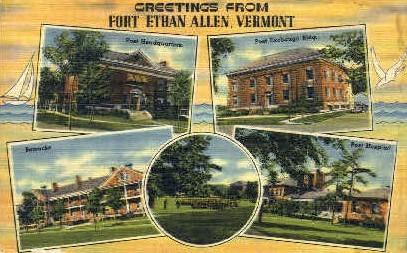Barracks - Fort Ethan Allen, Vermont VT Postcard