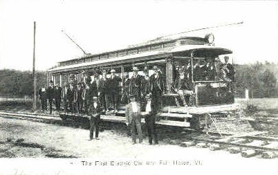 Reproduction -First Electric Car - Fair Haven, Vermont VT Postcard
