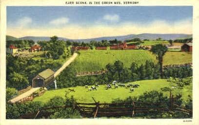 Farm - Green Mountains, Vermont VT Postcard