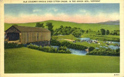 Old Covered Bridge - Green Mountains, Vermont VT Postcard