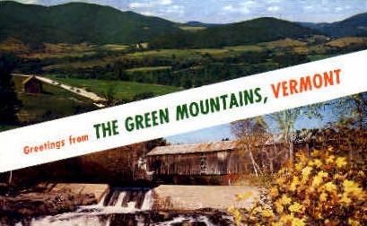 Misc - Green Mountains, Vermont VT Postcard