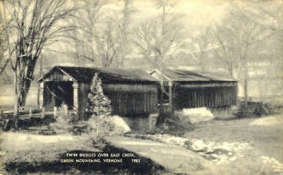 Twin Bridges - Green Mountains, Vermont VT Postcard