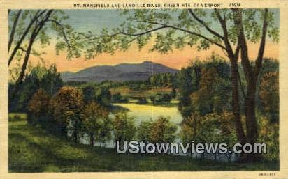 Mt. Mansfield, Lamoille River - Green Mountains, Vermont VT Postcard
