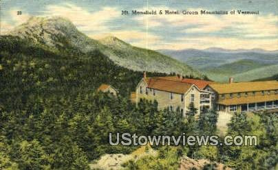 Mt Mansfield & Hotel - Green Mountains, Vermont VT Postcard