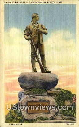 Statue, Green Mountain Boys - Rutland, Vermont VT Postcard