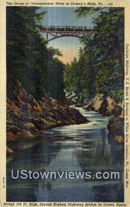 Gorge of Ottauquechee River - Green Mountains, Vermont VT Postcard