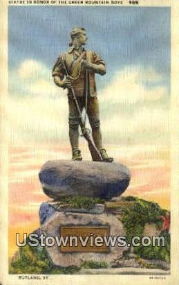 Statue, Green Mountain Boys - Green Mountains, Vermont VT Postcard
