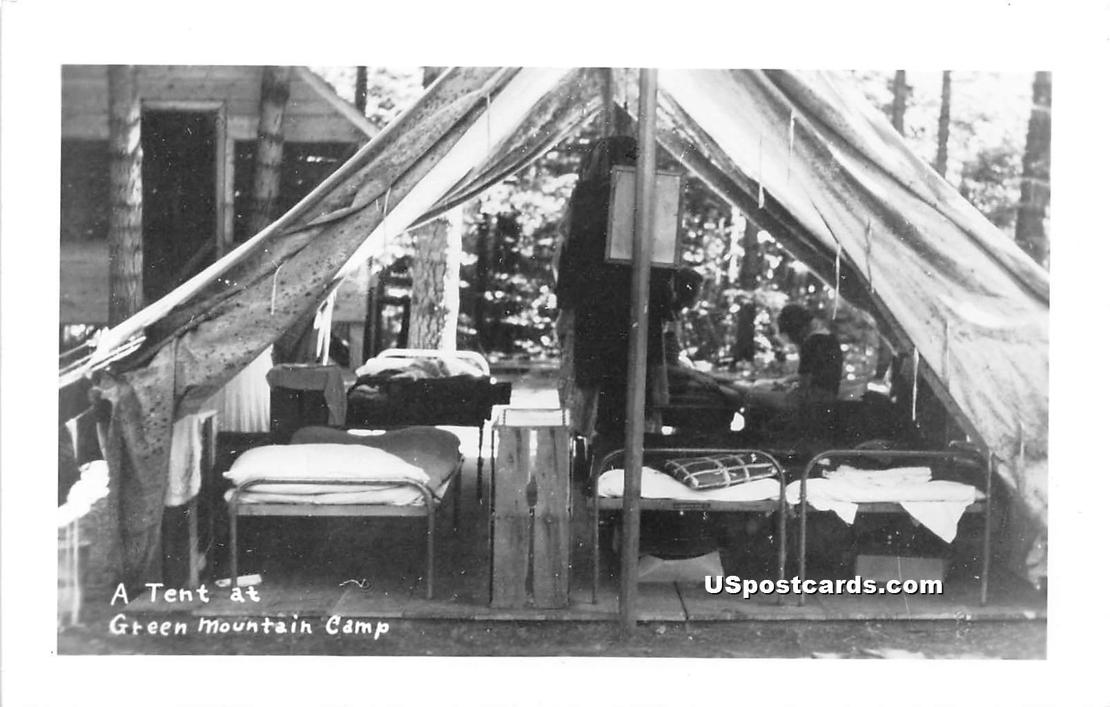 Tent - Green Mountain Camp, Vermont VT Postcard