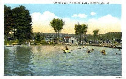 Neshore Bathing Beach - Lake Bomoseen, Vermont VT Postcard