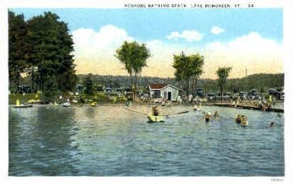 Neshobe Bathing Beach - Lake Bomoseen, Vermont VT Postcard