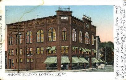 Masonic Building - Lyndonville, Vermont VT Postcard
