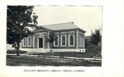 Fletcher Memorial Library - Ludlow, Vermont VT Postcard