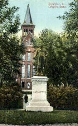 Lafayette Statue - Burlington, Vermont VT Postcard