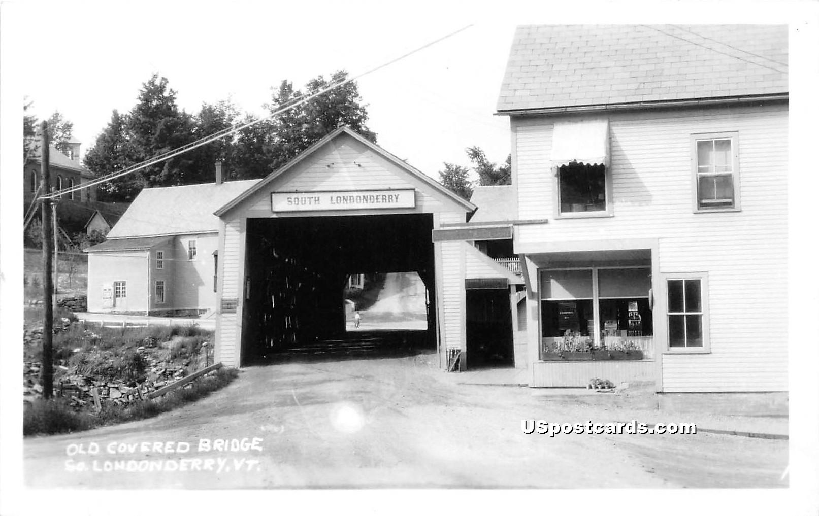 Old Covered Bridge - Londonderry, Vermont VT Postcard