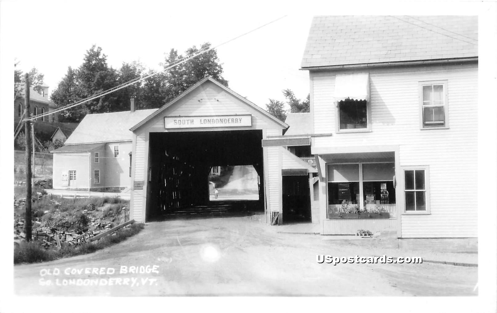 Old Covered Bridge - Londonderry, Vermont VT Postcard
