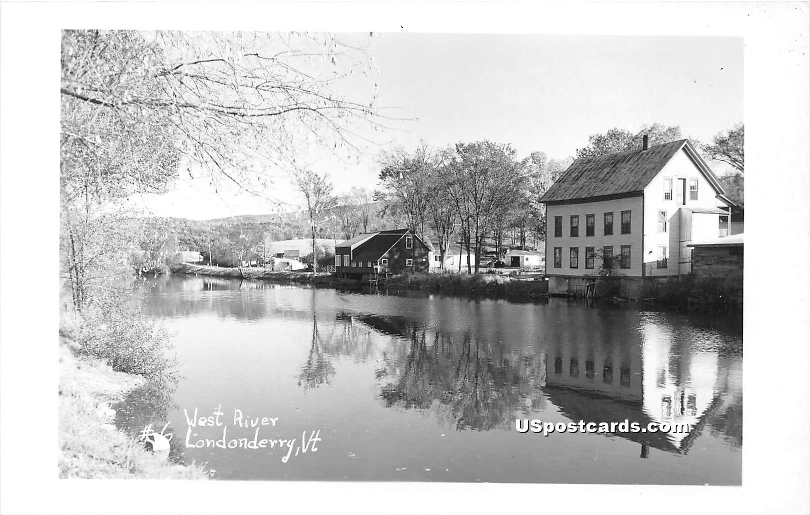 West River - Londonderry, Vermont VT Postcard