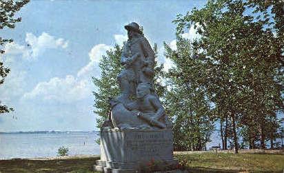 Samuel de Champlain Statue - Lake Champlain, Vermont VT Postcard