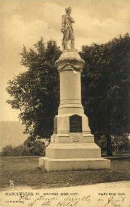 Soldiers Monument - Manchester, Vermont VT Postcard