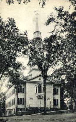 Congregational Church - Middlebury, Vermont VT Postcard