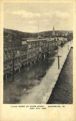 State Street Flood - Montpelier, Vermont VT Postcard