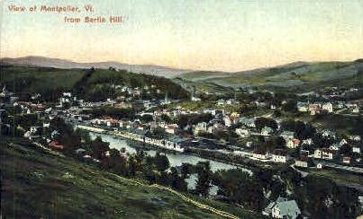 Berlin Hill - Montpelier, Vermont VT Postcard