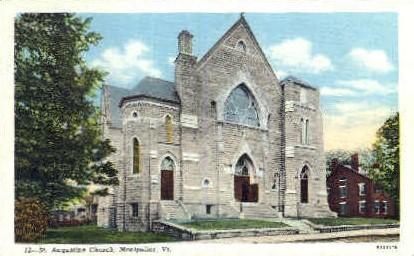 Augustine Church - Montpelier, Vermont VT Postcard