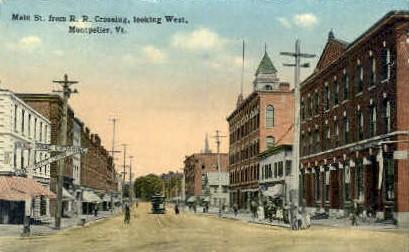 Main Street - Montpelier, Vermont VT Postcard