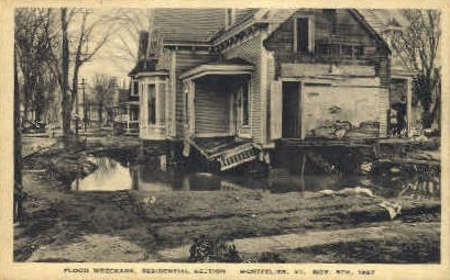 Flood Wreckage - Montpelier, Vermont VT Postcard