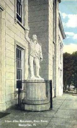 Ethan Allen Monument - Montpelier, Vermont VT Postcard