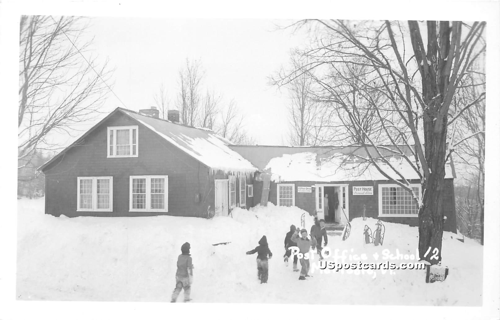 Post Office & School - Marlboro, Vermont VT Postcard