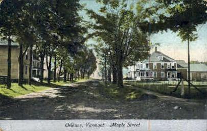 Maple Street - Orleans, Vermont VT Postcard