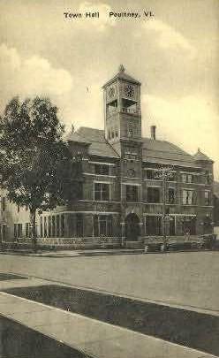 Town Hall - Poultney, Vermont VT Postcard