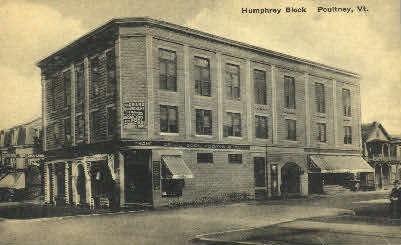 Humphrey Block - Poultney, Vermont VT Postcard