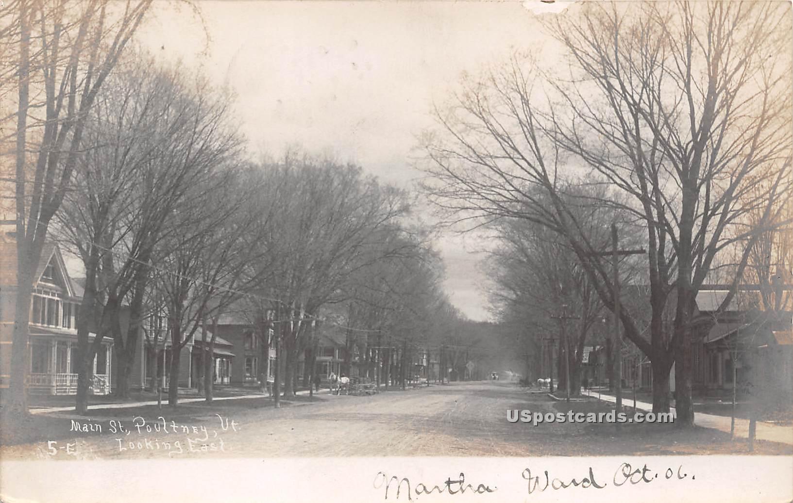 Main Street - Poultney, Vermont VT Postcard