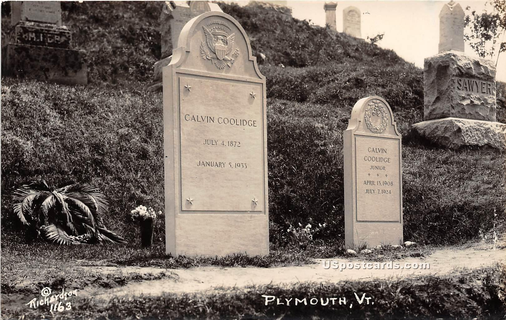 Calvin Coolidge & Calvin Coolidge Junior - Plymouth, Vermont VT Postcard
