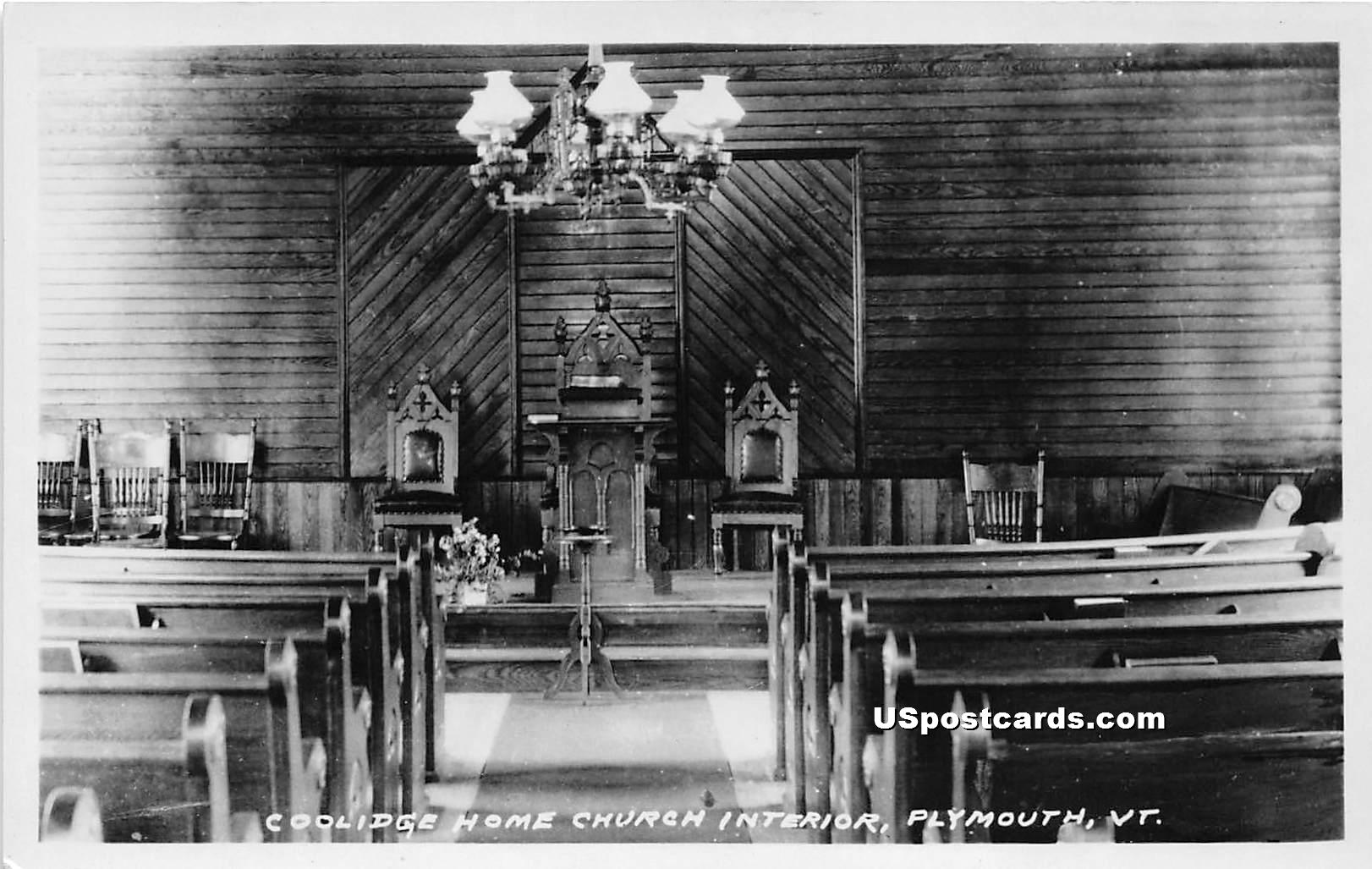 Coolidge Home Church Interior - Plymouth, Vermont VT Postcard
