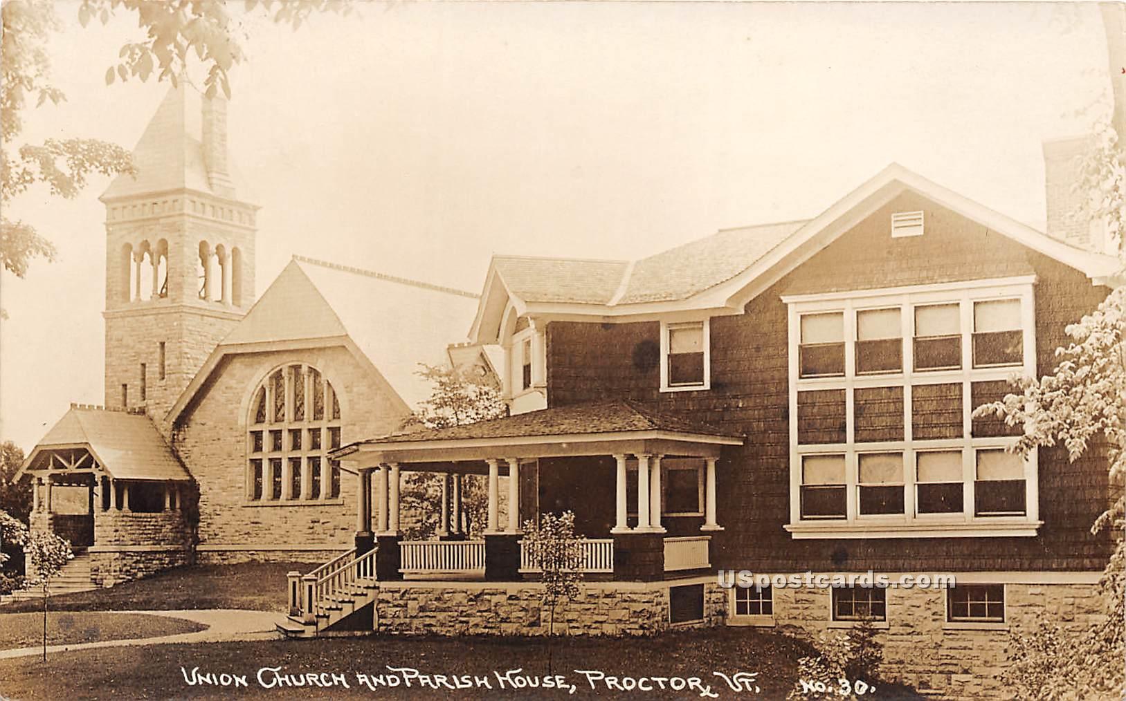 Union Church & Parish House - Proctor, Vermont VT Postcard