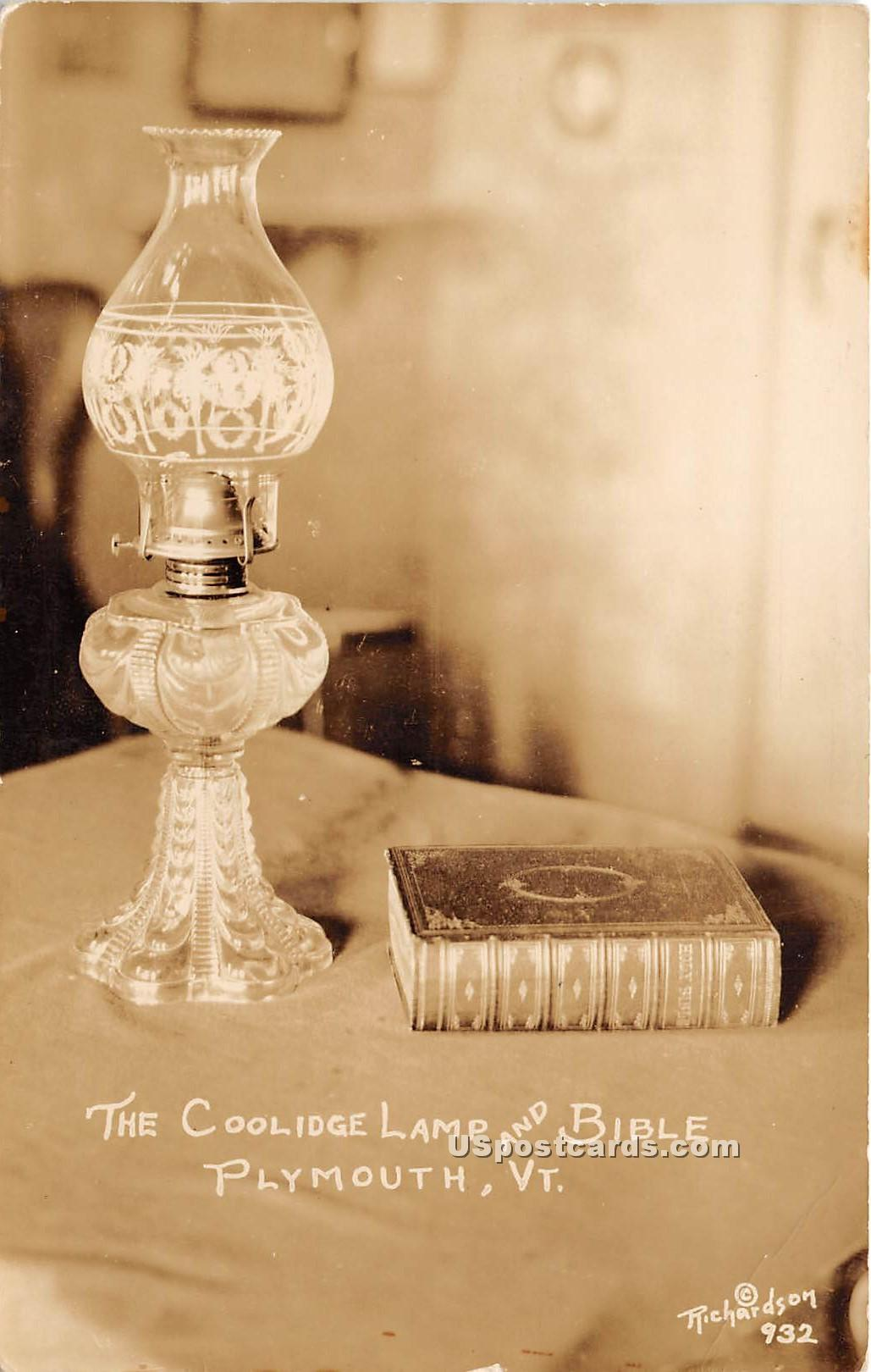 Coolidge Lamp & Bible - Plymouth, Vermont VT Postcard