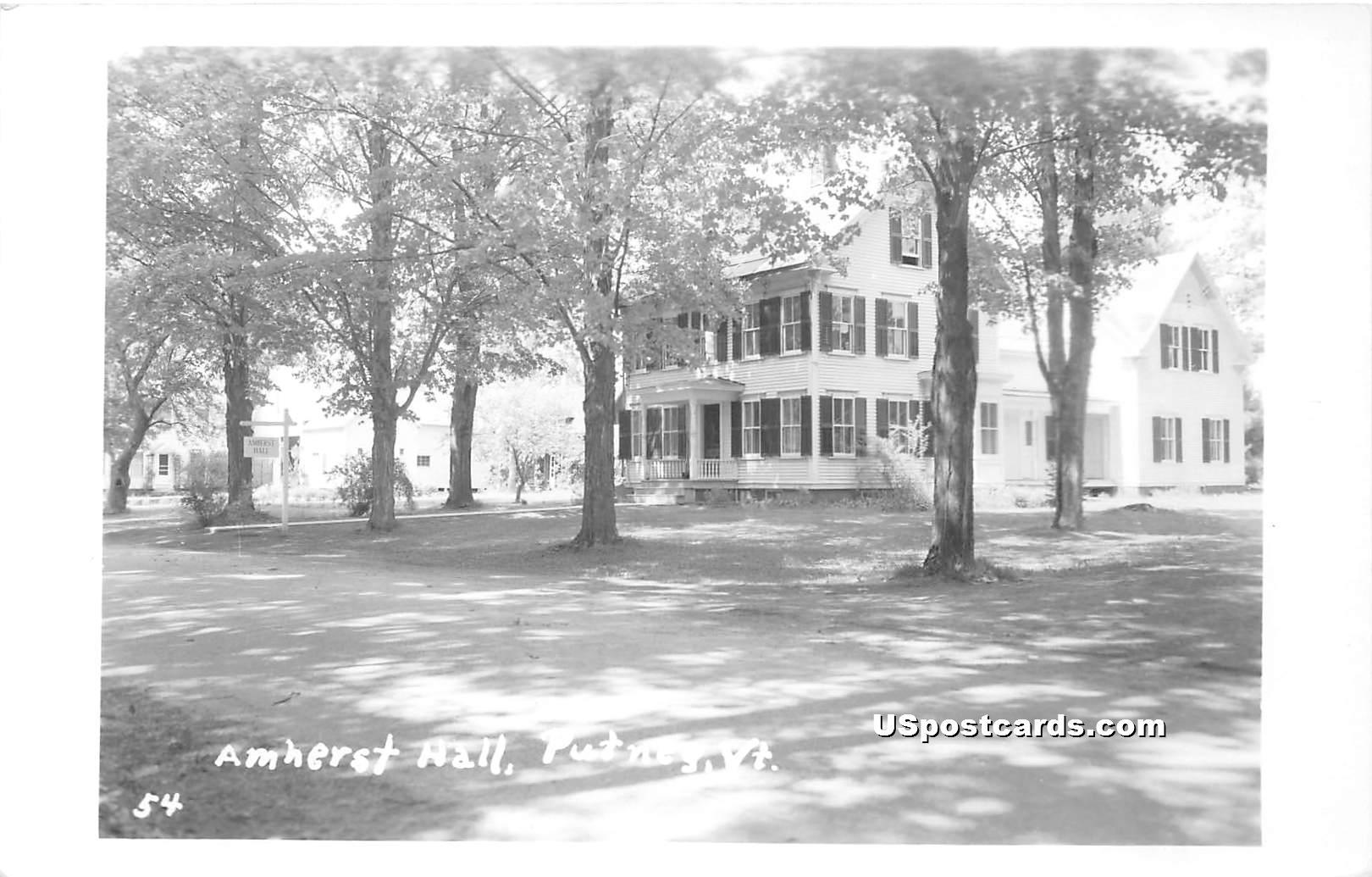 Amherst Hall - Putney, Vermont VT Postcard