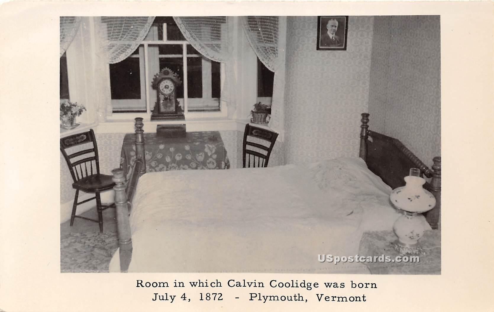 Room, Calvin Coolidge Was Born - Plymouth, Vermont VT Postcard