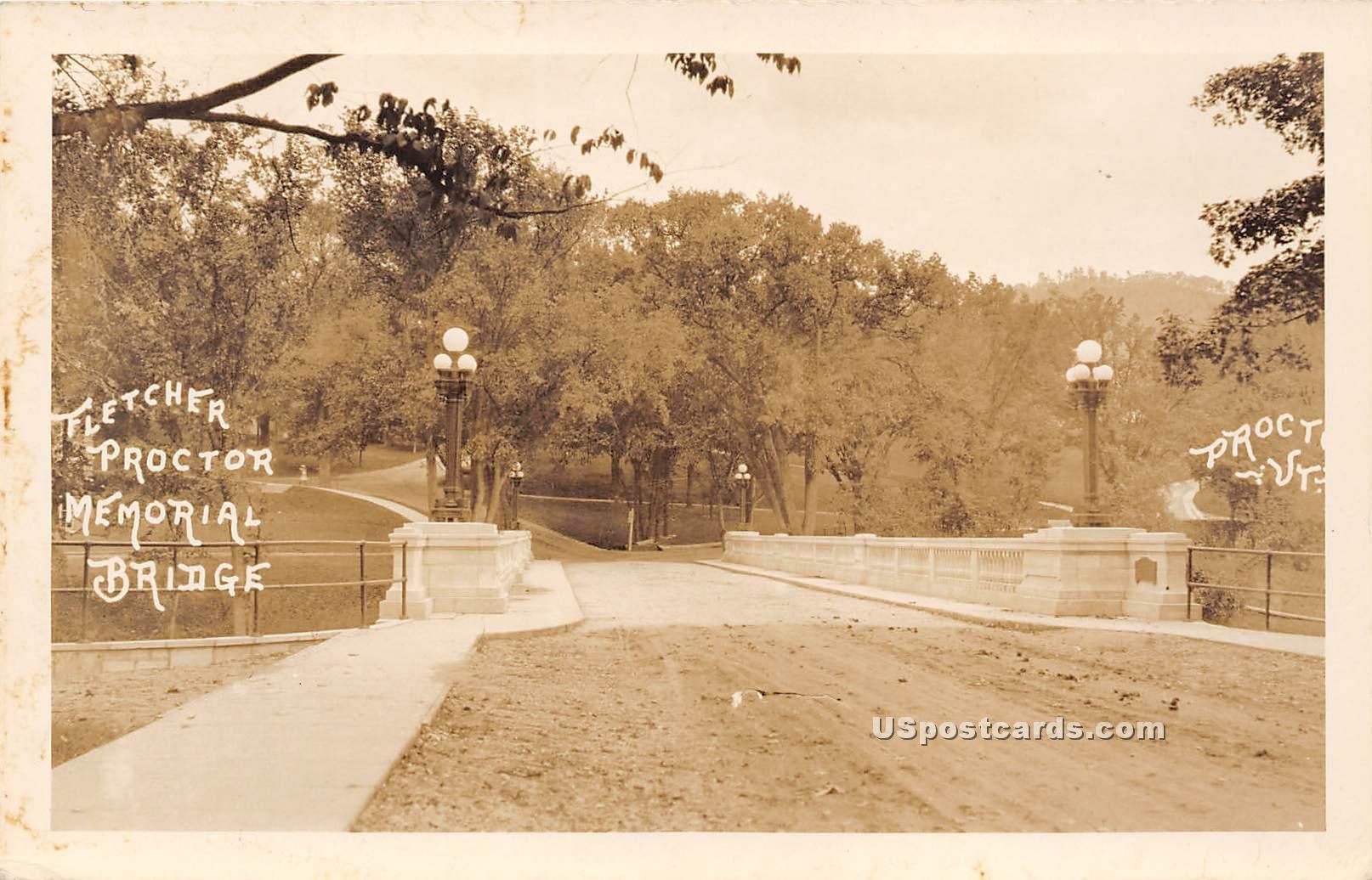 Fletcher Proctor Memorial Bridge - Vermont VT Postcard