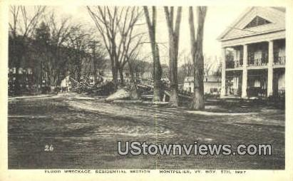 Flood Wreckage, Nov 5, 1927 - Montpelier, Vermont VT Postcard