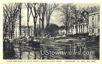Flood Wreckage, State Street, Nov 5, 1927 - Montpelier, Vermont VT Postcard
