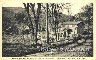 Flood Wrecked Houses, Nove 4, 1927 - Montpelier, Vermont VT Postcard
