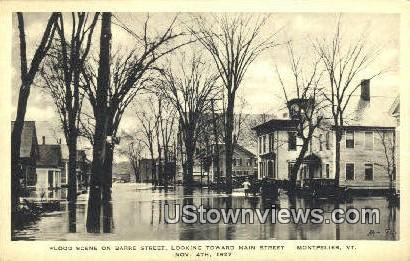 Flood, Main Street, Nov 4, 1927 - Montpelier, Vermont VT Postcard